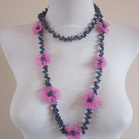 Crochet Beaded Necklace,Crochet Necklace,Ribbon Flower Jewelry