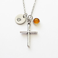 Cross Necklace, Silver Cross, Simple Cross, Christian, Religious, Swarovski Birthstone, Silver Initial, Personalized Monogram Hand Stamped