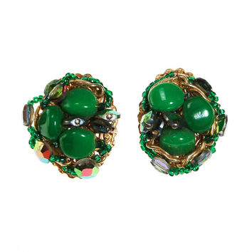 Green Rhinestone Earrings, Statement Earrings, Gold Tone, Hand Beaded, Clip On, Sparkly, Mid Century Modern, Old Hollywood Glam