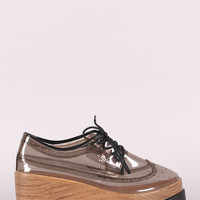 Qupid Perforated Lucite Lug Sole Lace Up Oxford Wedge