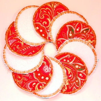 "Set Of 10 Reusable 3"" Facial Rounds, Cotton Pads, Cotton Rounds, Reusable Makeup Pad, Cosmetic Round, Reusable Facial Pad, Face Scrubbie"
