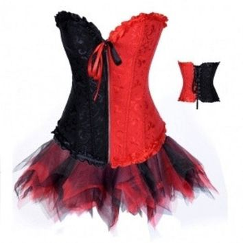 Hot Sale Women Sexy Underbust Corset Tutu Dress Bustier Shapewear 12710