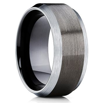 Unique Gunmetal Tungsten Wedding Band - Black Tungsten Ring - Men's Band