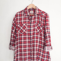 Vintage Flannel, Red Flannel, Plaid Shirt, Boyfriend Flannel. Vintage Cotton Shirt.Worn in Button Up 70s Grunge Shirt.Boho Oversized Flannel