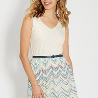 dress with lace top and ethnic chevron print skirt | maurices