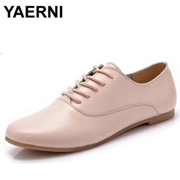 YAERNI Spring women oxford shoes ballerina flats shoes women genuine leather shoes moccasins lace up loafers white shoes 051