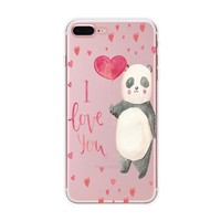 Love Panda Case Cover for iPhone X 8 7 6s 6 Plus with Gift Box