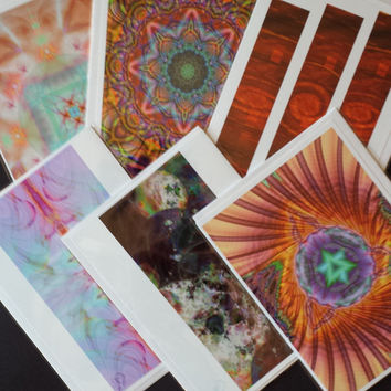 Valentine's Day Hearts Blank note cards Sedona Sacred and Spiritual Healing Energy Cosmic ArtFractal Greeting - 6 Pack - Any Occasion -
