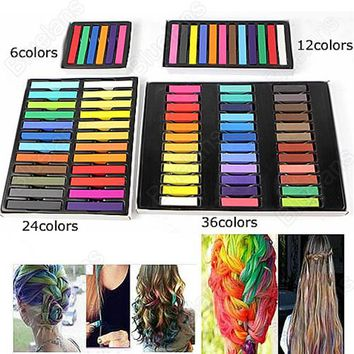 Easy Temporary DIY Salon Painting Extension Non-toxic Hair Chalk Dye Soft Hair Pastels Kit 6/12/24/36 Colors Fast Shipping