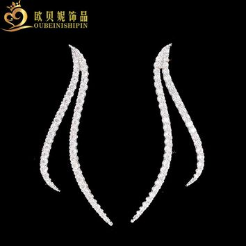 2017 Real 100% 925 Sterling Silver Micro Pave Zirconia Long Bar Stud Earring For Women Jewelry