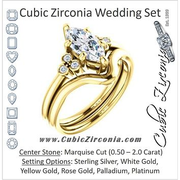 CZ Wedding Set, featuring The Irene engagement ring (Customizable Marquise Cut 7-stone with Round Bezel Accents)