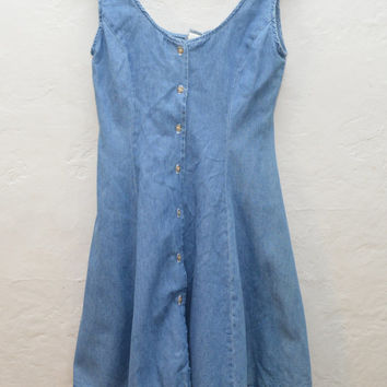 VTG 90s Denim A line Skater Mini Dress • Baby Doll Short Dress • Jean Blue •  Flowy Grunge 1990s