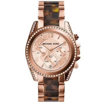 Michael Kors Rose Gold-Tone Tortoise Blair Watch 39mm MK5859