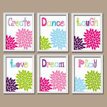 Playroom Wall Art Nursery Canvas Artwork Girl Child Colorful Bold Set of 6 Flower Create Play Laugh Love Dream Dance Baby Decor Bedroom