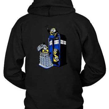 Minion Mischief Tardis Hoodie Two Sided