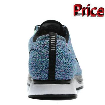 Discount Nike Flyknit Racer Hyper Turquoise Multi Color Black White shoes