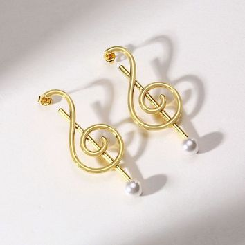 Treble Clef Music Note Shaped Stud Earrings in Golden Stainless Steel with Fake Pearl Women Jewelry