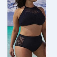 Swimsuit Plus Size High Waist Hollow Out Backless Bikini = 5893073473