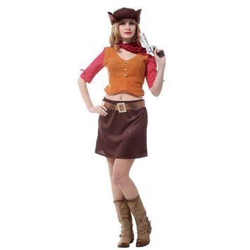 ESBON Cowgirl Cosplay Purim San Fermin Halloween cowboy Costumes for Woman fantasia feminina Carnival Stage performance play dress