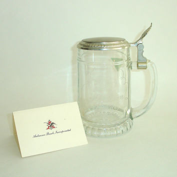 Vintage Anheuser-Busch Tankard, Lidded Stein, Beer Mug, Commemorative Glass, 1978, 40 Million Barrels, Barware, BMF West Germany
