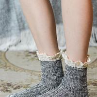 Lace Ruffle Quarter Socks - Black, Teal, Rose