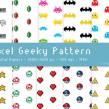 INSTANT DOWNLOAD - 10 Geeky Digital Patterns Paper Backgrounds / Geekery - 300 dpi - JPEG - 3600x3600px