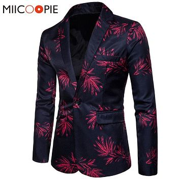 New Brand Mens Fashion Blazer Floral Printed Slim Fit Blazer Masculino Single Button Men's Blazer And Suit Jacket Outerwear Coat