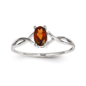 14k White Gold Oval Genuine Garnet January Birthstone Ring