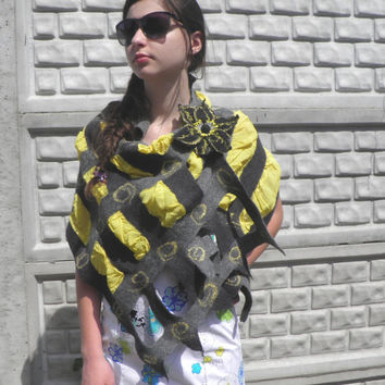Grid felted scarf /Mesh scarf / spring gifts /spring scarf/ Ready to ship