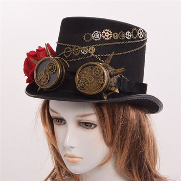 Steampunk Gear Goggle Floral Black Top Hat
