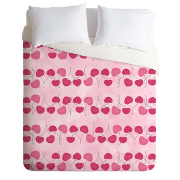 Lisa Argyropoulos Wild Cherry Stripes Duvet Cover
