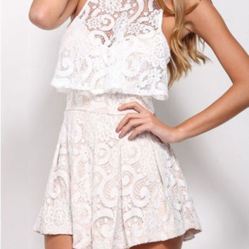 Floral Lace Spaghetti Strap Pleated Romper - White/Blue