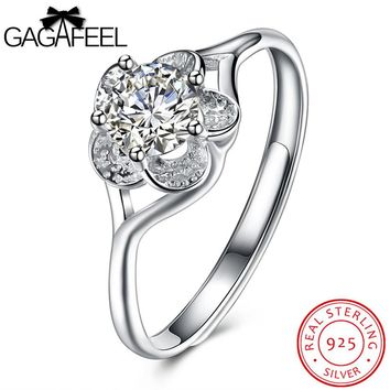 GAGAFEEL Charm Women Ring Real Solid 925 Sterling Silver Rings Prong 5 Single Zirconia Changeable Size Princess Cut Dropshipping