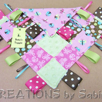 Tag Blanket Taggie Sensory Toy Ribbon Blanket by CREATIONSbySabine