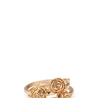 FOREVER 21 Carved Rose Ring Set Gold