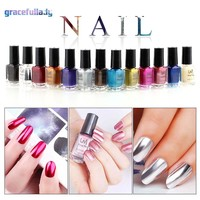 New Manicure 6ml Mirror Nail Polish Metallic Varnish Silver Effect Metal Gold Gel Base Top Coat DIY Nails Manicure Art Tips