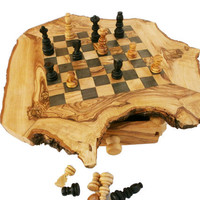 Unique olive wood rustic custom engraved monogrammed personalized chess set / board (Small), Dad gift, Birthday gift