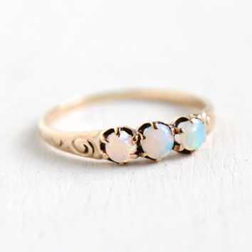 Antique Edwardian 8k Rose Gold Opal Ring- Vintage Early 1900s Size 4 1/2 Art Nouveau Swirled Fine Jewelry