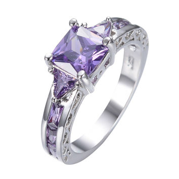 Vintage Jewelry Amethyst Ring Sz6/7/8/9/10 Princess Cut Purple CZ Women Wedding Band Anel Aneis White Gold Filled Rings RW0634