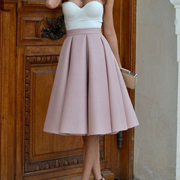 Pink High Waisted Pleated Midi Lenght Skirt