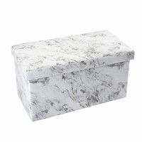 Double Folding Marble Print Ottoman