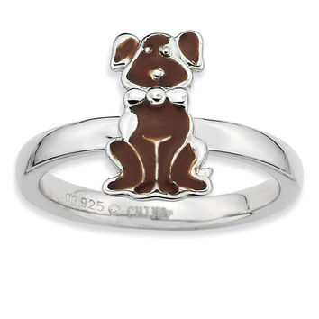Sterling Silver Stackable Expressions Brown Enameled Dog Ring