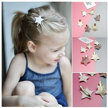 Z30 Sythetic Leather star kid children barrette 6pcs/lot bling PU hair clips for girls toddlers hairpins girls hair accessories