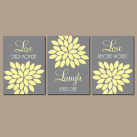 Yellow Gray Live Laugh Love Wall Art Quote Nursery Artwork Gray Custom Colors Flower Petals Set of 3 Prints  Bedroom Bathroom Three