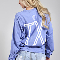 charlie southern: retro state long sleeve [texas] - blue