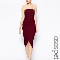 ASOS PETITE Asymmetric Wrap Bandeau Pencil Dress