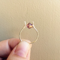 Silver Wire Wrapped Purple Swarvoski Ring