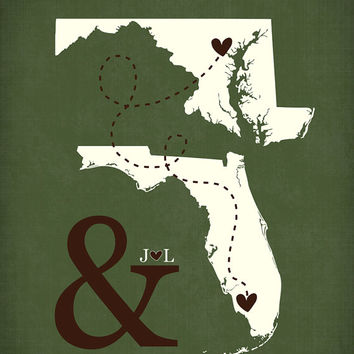 Custom Unique Wedding Engagement Anniversary Christmas Gift - 8x10 Ampersand Long Distance States, Initials, Deployment Gift for Husband