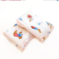 SALE Peter Rabbit Burp Cloth- Blue Red Brown Beatrix Potter- set of 2