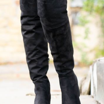 Ladder Black Suede Boots